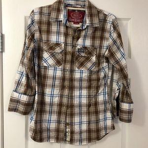 SUPERDRY Brown Tan Plaid Flannel Shirt NWOT Sz Lg